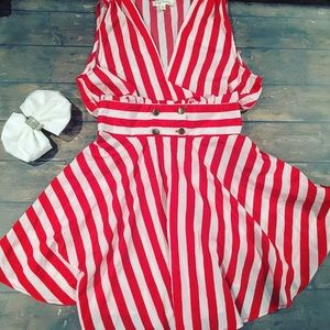 Dresses - Vintage inspired red striped dress Small